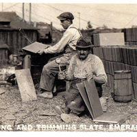 Splitting and Trimming Slate, Emerald, PA.