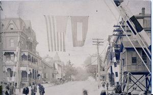 Downtown Slatington with World War I Flags